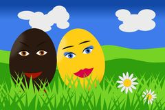 A couple of easter eggs in love in the countryside Stock Images