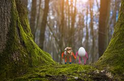Couple of Easter eggs walking in a fairytale forest stock photos