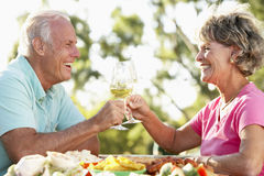 Couple Eating An Al Fresco Meal royalty free stock images
