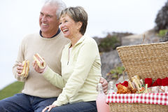 Couple Eating An Al Fresco Meal At The Beach royalty free stock photos