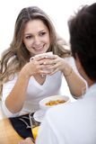 Couple eating breakfast Stock Photo