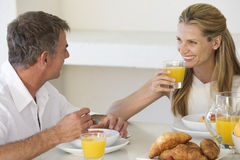 A couple eating breakfast Stock Photo