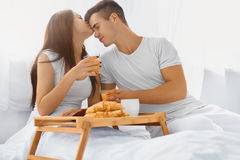 Couple eating breakfast in the morning Stock Photo