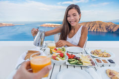Couple Eating Breakfast On Terrace Resort Travel Stock Images