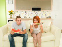 Couple eating delicious watermelon Royalty Free Stock Images