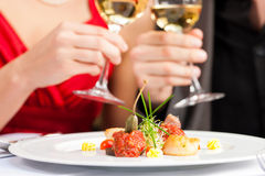 Couple eating dinner in very good restaurant Royalty Free Stock Photo