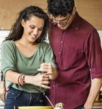 Couple Eating Food Feeding Sweet Concept stock photography