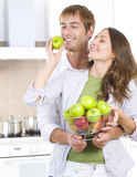 Couple Eating fresh fruits Stock Photos