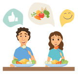 Couple eating healthy food. Man and woman having lunch, dinner or breakfast. Nutrition and diet infographics. Slim people in home or restaurant royalty free illustration