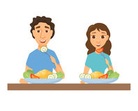 Couple eating healthy food. Man and woman having lunch, dinner or breakfast. Nutrition and diet. Slim people in home or restaurant vector illustration