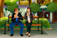 Couple Eating Hot Dog. A vector illustration dating couple eating hot dog in the city Royalty Free Stock Photo