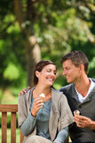 Couple eating an ice cream Stock Photo