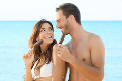 Couple Eating Ice Cream Royalty Free Stock Photography
