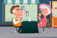 Couple Eating Ice Cream. A vector illustration of old grandpa and grandma eating ice cream together Royalty Free Stock Image