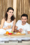 Couple eating lovely breakfast Royalty Free Stock Photography