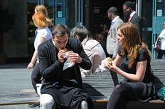 Couple eating lunch, Liverpool. Royalty Free Stock Photo