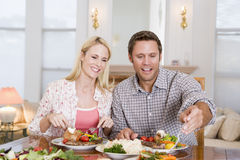 Couple Eating meal, mealtime Together Royalty Free Stock Photography