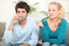 Couple eating a meal Stock Image