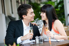 Couple Eating Outdoors Stock Photos