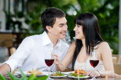 Couple Eating Outdoors Royalty Free Stock Photography