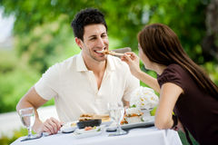 Couple Eating Outdoors Royalty Free Stock Photo