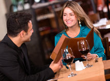 Couple eating at a restaurant Stock Photo