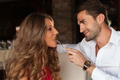 Couple eating Stock Image