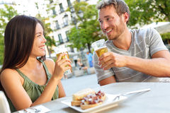Couple eating tapas drinking beer in Madrid Spain Royalty Free Stock Image