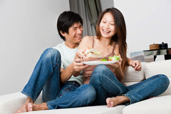 Couple Eating Together Royalty Free Stock Photo