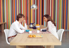 Couple eats breakfast together l Stock Photo
