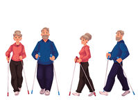 Couple of elder adult nordic walkers, male and female. Couple of elder adult nordic walkers, cartoon style vector illustration  on white background. Man and Royalty Free Stock Photography