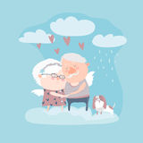 Couple of elderly angels hugging Stock Images