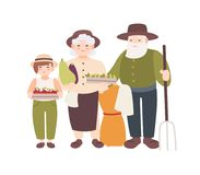 Couple of elderly farmers and their grandchild holding ripe gathered vegetables. Grandparents and grandson carry harvest. Flat cartoon characters isolated on Royalty Free Stock Photos