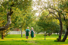 Couple of elderly gardeners walking. Woman and man, summer nature Stock Photography