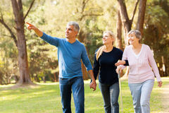 Couple elderly mother. Cheerful middle aged couple taking elderly mother for a walk in forest Royalty Free Stock Image