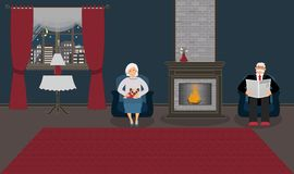 A couple of elderly people are sitting by the fireplace in a beautiful cozy blue living room stock illustration
