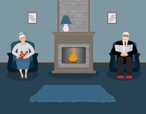 A couple of elderly people are sitting by the fireplace in a beautiful cozy blue living room vector illustration