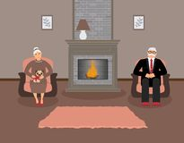 Couple elderly people is sitting by the fireplace in a beautiful cozy living room in brown and peach tones stock illustration