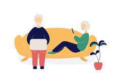 Couple of old people with laptop and phone royalty free illustration