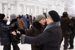 Couple  elderly women are dancing . St. Petersburg, Russia - February 8, 2015: Dance floor for the elderly in the city park. People dance to the music of a Royalty Free Stock Photo