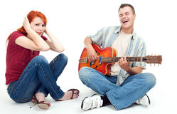 Couple with electric guitar Royalty Free Stock Photos