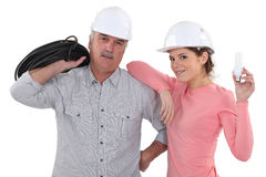 A couple of electrician. Stock Photo