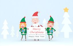 Couple elf and Santa Claus holding a white placard in a forest set. 3d Illustration. royalty free illustration