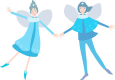 Couple of elves. Vector image of the happy pair of the fantastic elves vector illustration