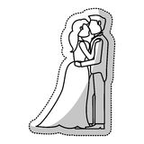Couple embrace wedding romantic outline Royalty Free Stock Photography