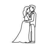 Couple embraced wedding romantic outline Stock Image