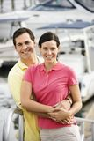 Couple Embracing At Harbor. Royalty Free Stock Image