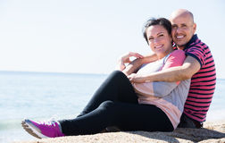 Couple embracing on the beach Royalty Free Stock Photo