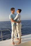 A couple embracing on a boat Royalty Free Stock Images
