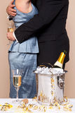 Couple embracing with Champagne Royalty Free Stock Image